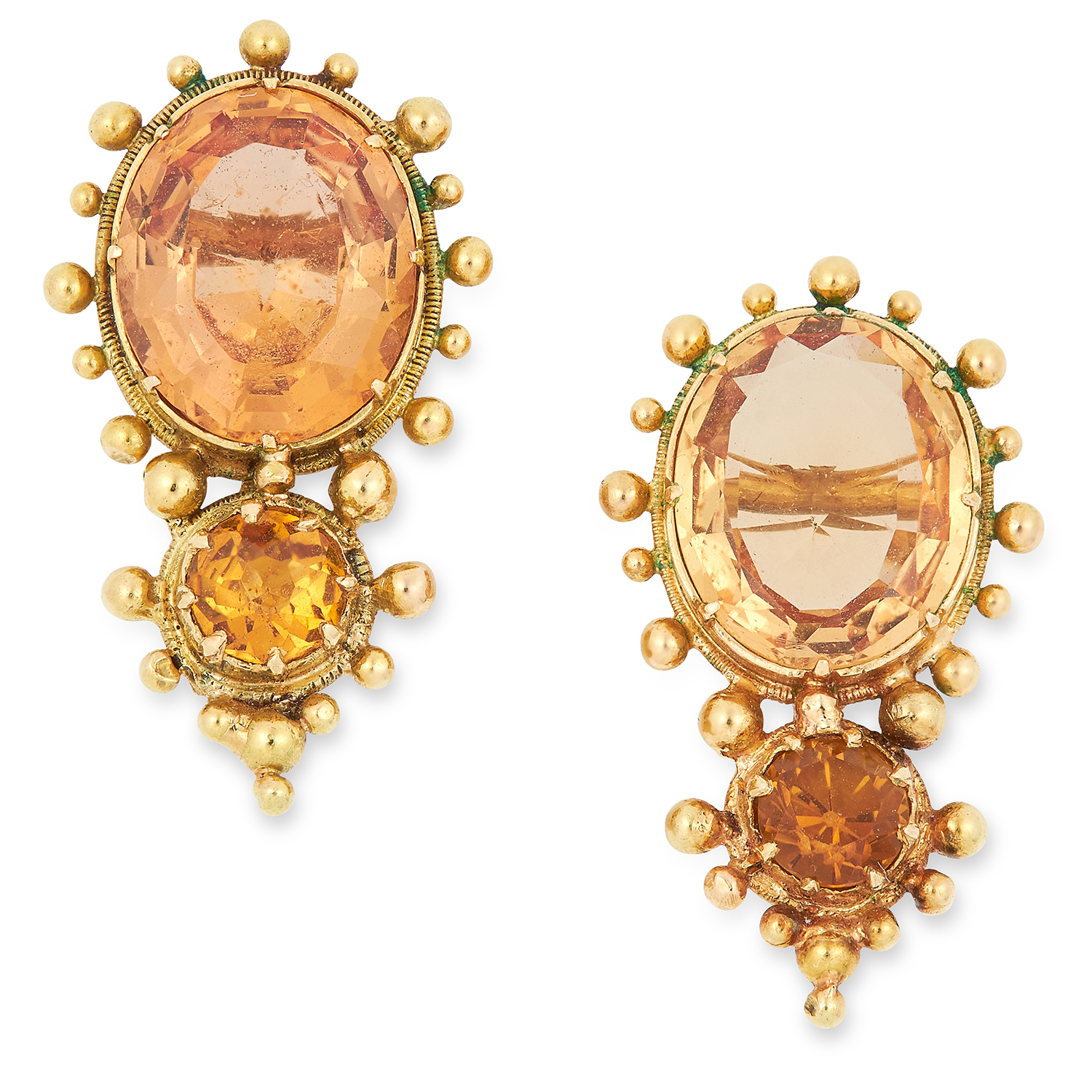 AN ANTIQUE IMPERIAL TOPAZ NECKLACE AND CLIP EARRING SUITE, 19TH CENTURY set with oval, round and - Image 2 of 2