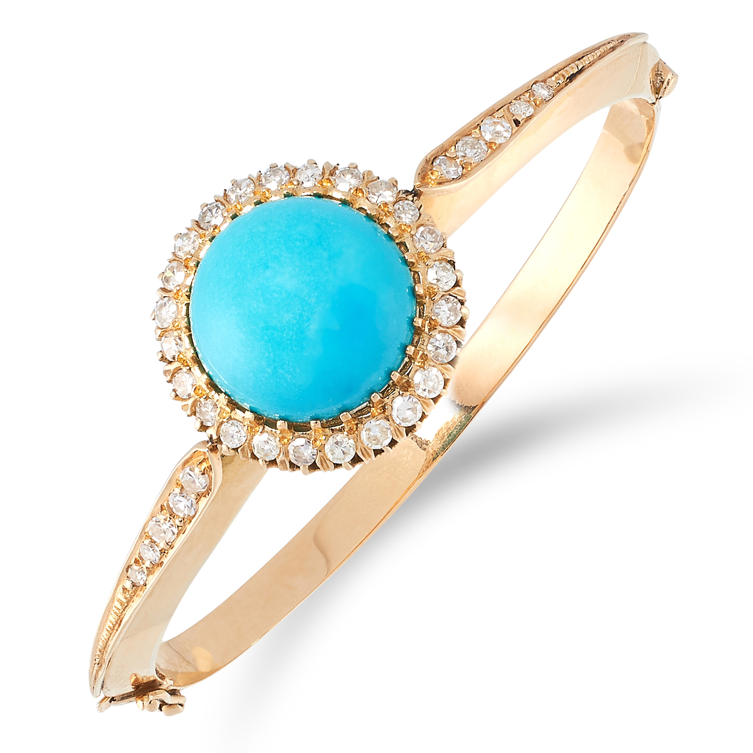 A TURQUOISE AND DIAMOND BANGLE set with cabochon turquoise in a border of round cut diamonds, French