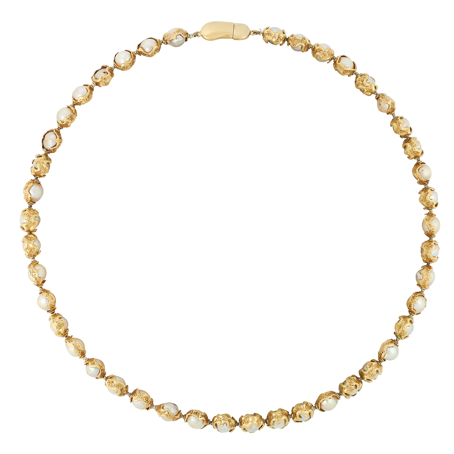 A CULTURED PEARL NECKLACE, CHARLES DE TEMPLE 1978 formed of a single row of pearls of 7.5-8.5mm in