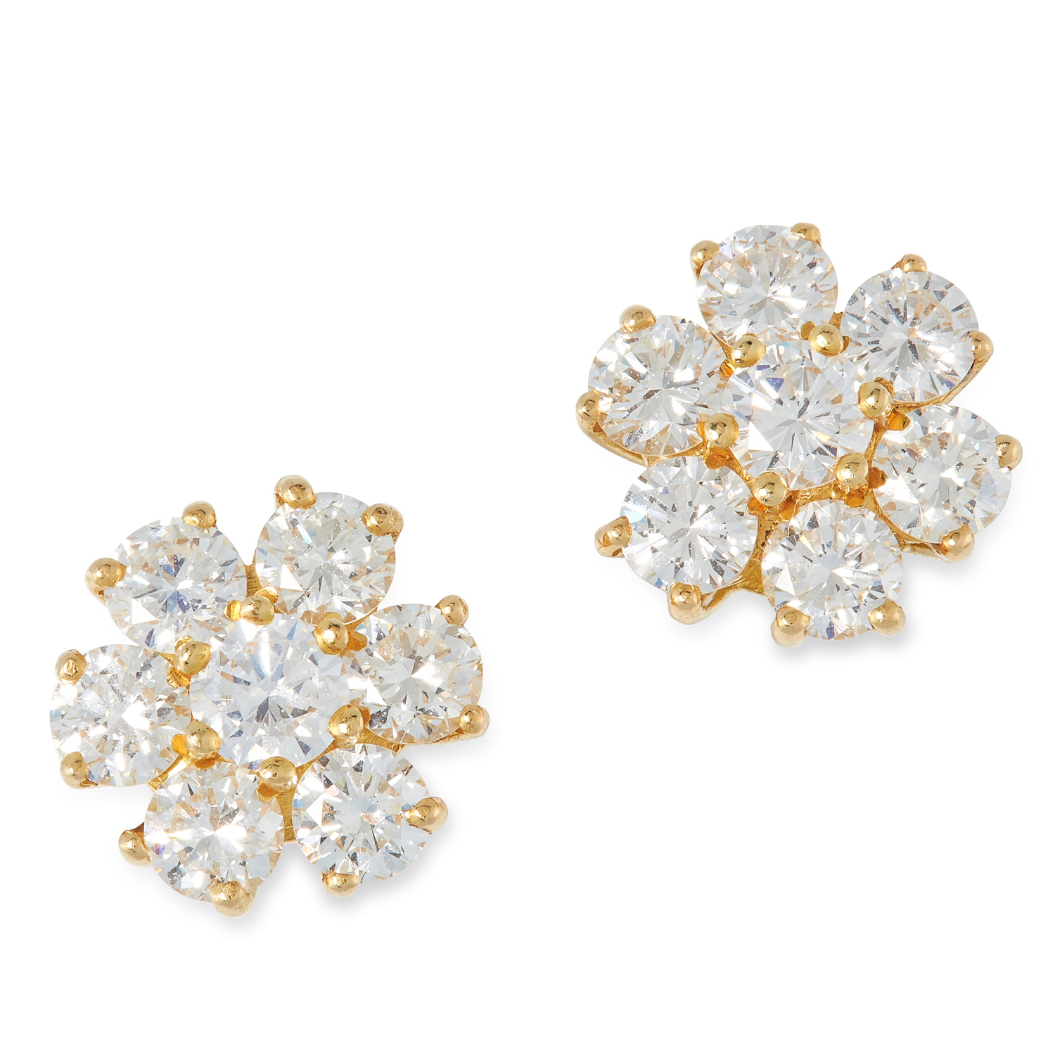 A PAIR OF DIAMOND CLUSTER EARRINGS set with round cut diamonds totalling 2.36 carats, marked