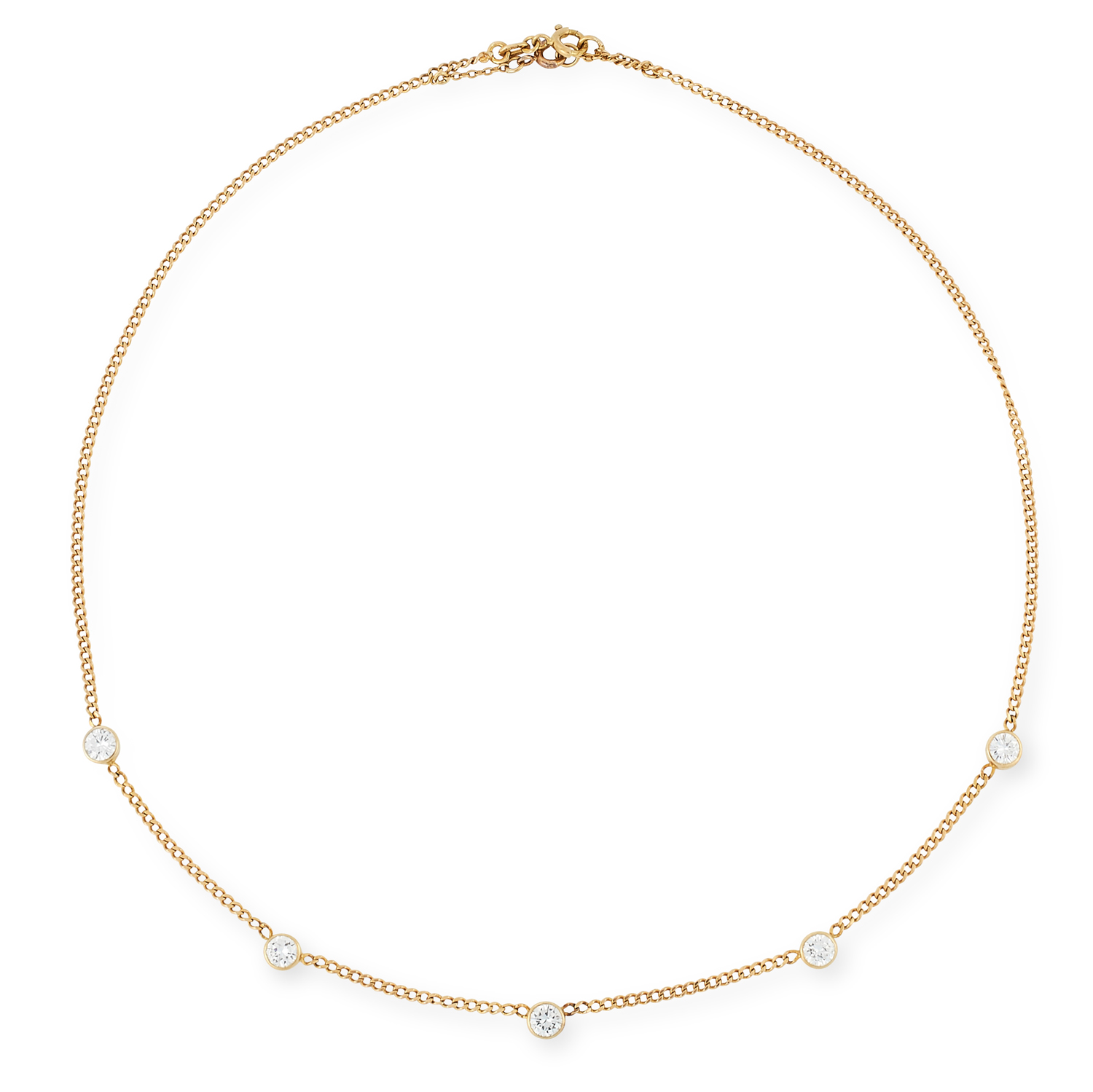 A DIAMOND NECKLACE, 1977 in the manner of Yard of Diamonds, comprising a chain set with five round