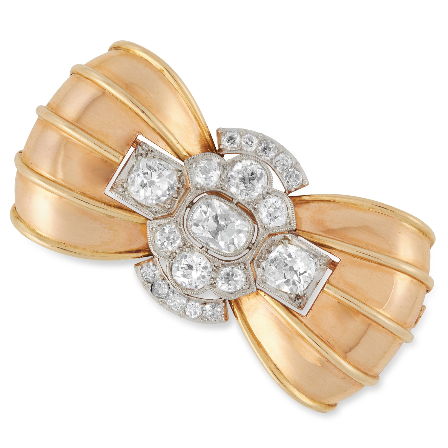 A RETRO DIAMOND BOW BROOCH, 1940s set with a trio old cut diamonds of 1.80, 1.33 and 1.07 carats,
