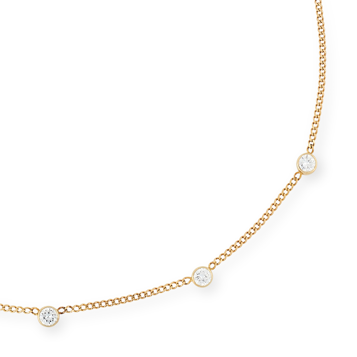 A DIAMOND NECKLACE, 1977 in the manner of Yard of Diamonds, comprising a chain set with five round - Image 2 of 2