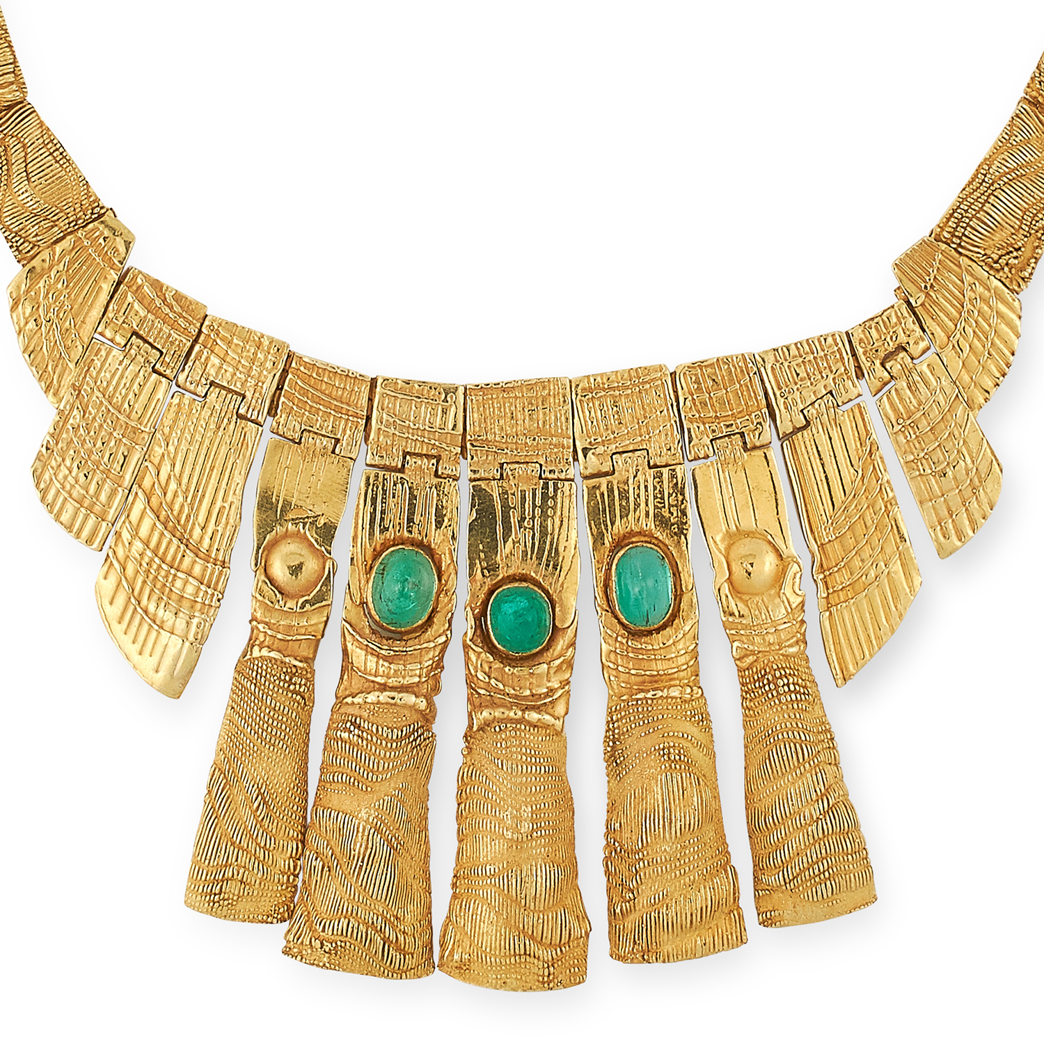 AN EMERALD NECKLACE, CHARLES DE TEMPLE 1973 formed of a fringe of graduated textured gold links, the - Image 2 of 2