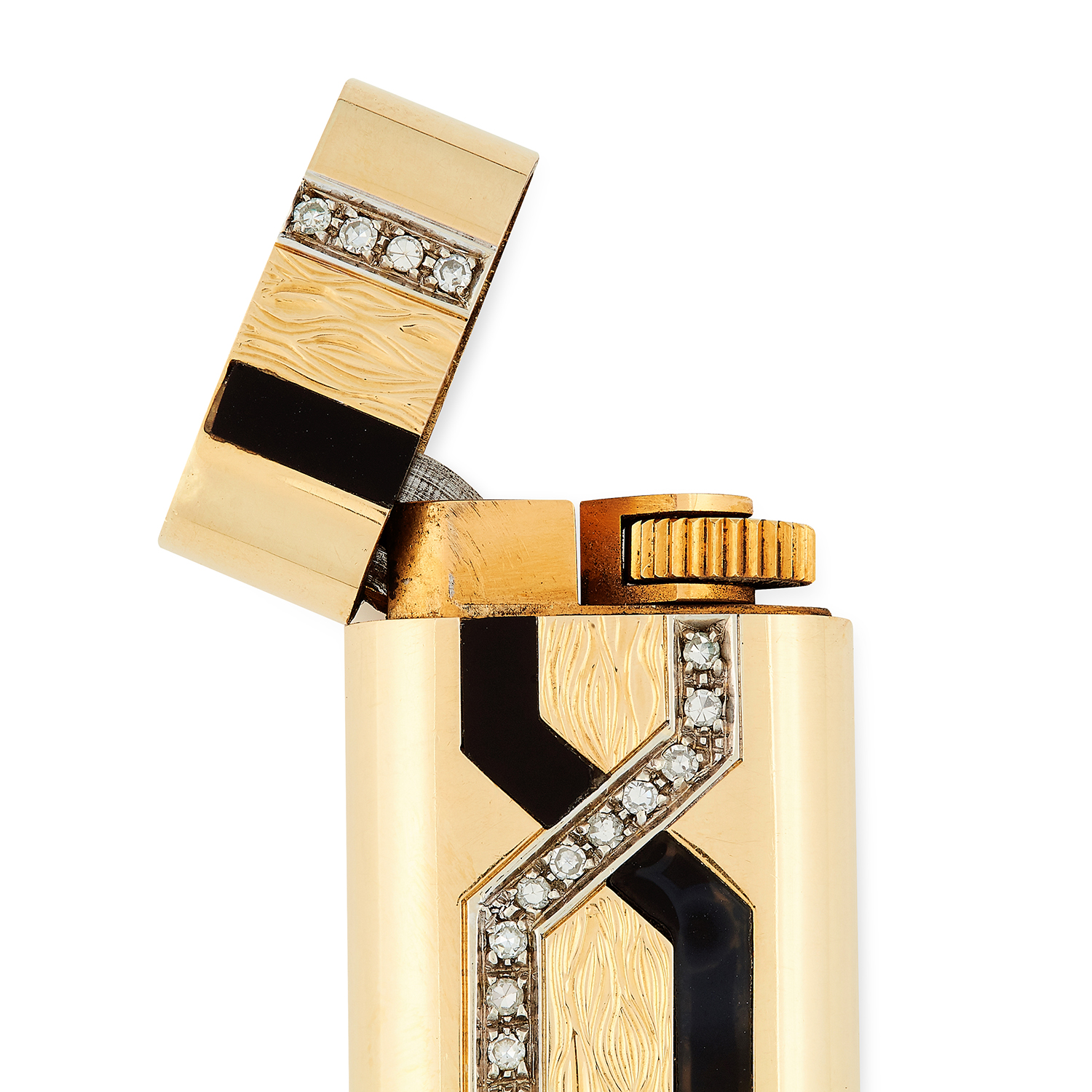 Los 92 - AN ONYX AND DIAMOND LIGHTER, CARTIER set with black enamel and round cut diamonds, signed Cartier