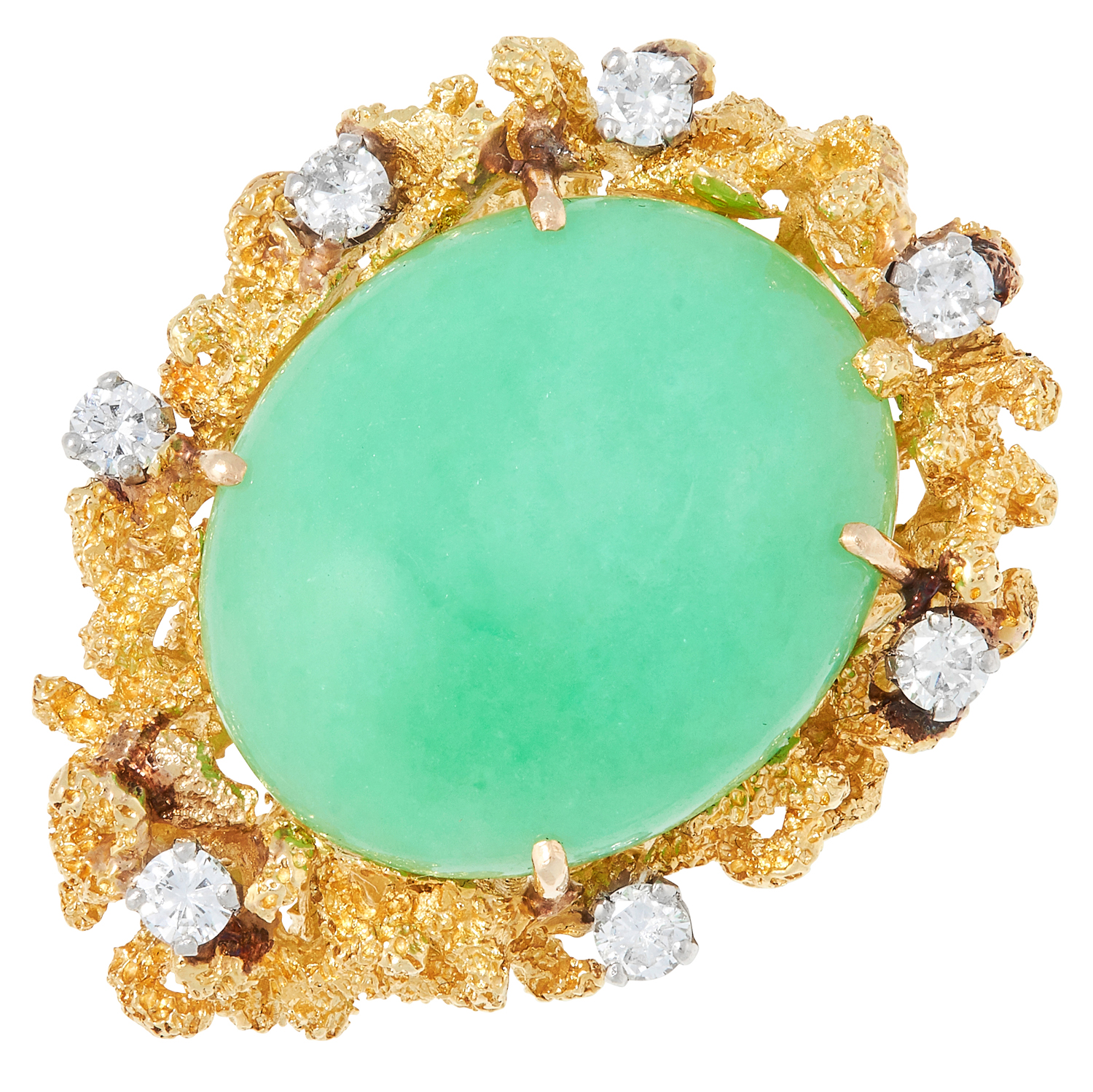 A JADEITE JADE AND DIAMOND RING, CHARLES DE TEMPLE 1973 of abstract naturalistic design set with
