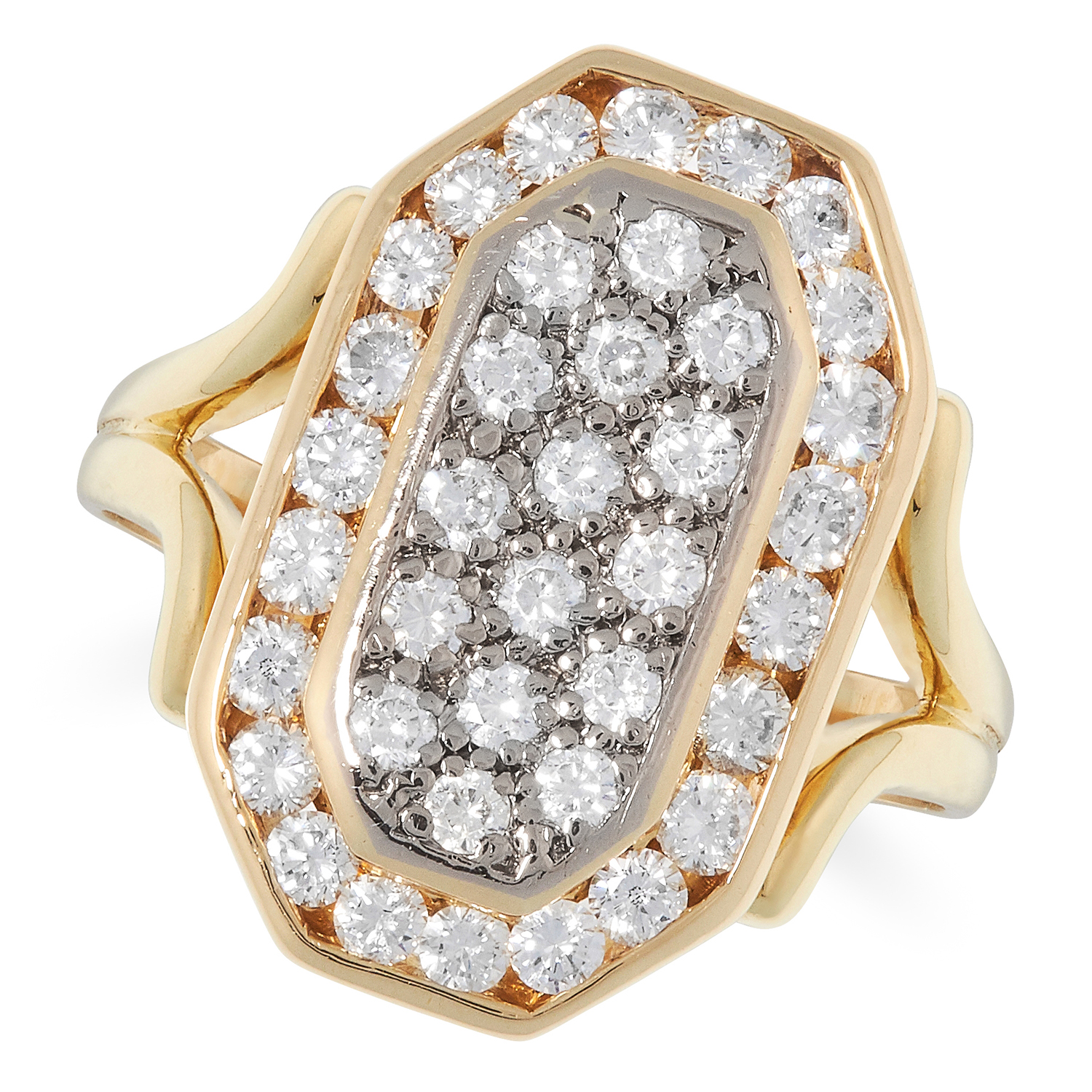 A DIAMOND DRESS RING, BOODLES the octagonal face pave set with round cut diamonds totalling 1.40
