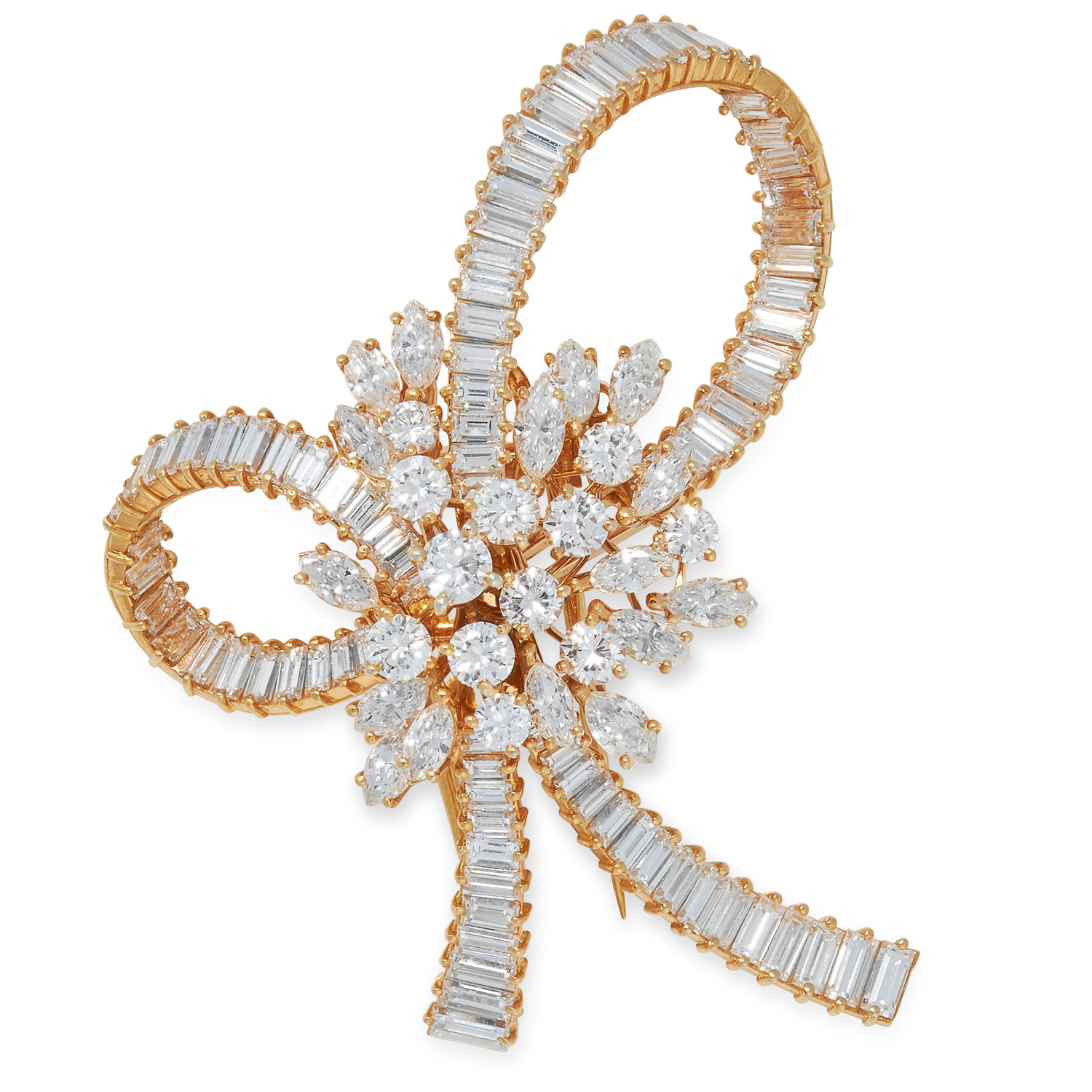 A DIAMOND BOW BROOCH set with round, marquise and baguette cut diamonds totalling approximately 9.00