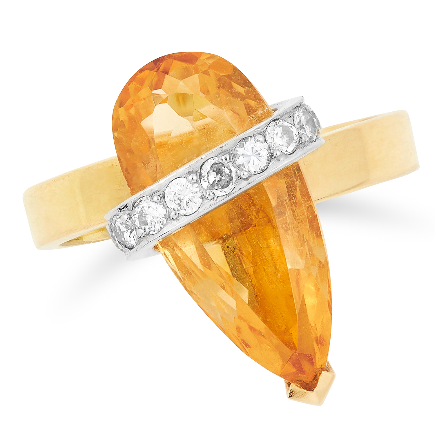 A TOPAZ AND DIAMOND RING, ANDREW GRIMA, CIRCA 1975 set with a pear cut imperial topaz and round