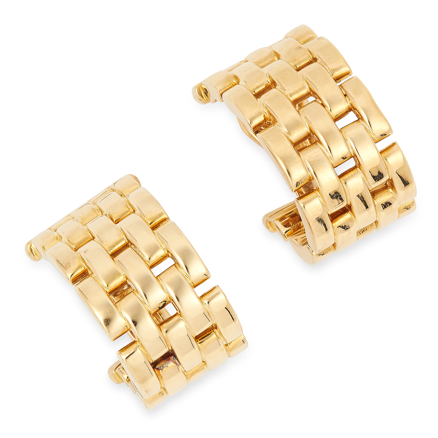 A PAIR OF MAILLON PANTHERE HOOP EARRINGS, CARTIER each designed as an incomplete hoop of alternating