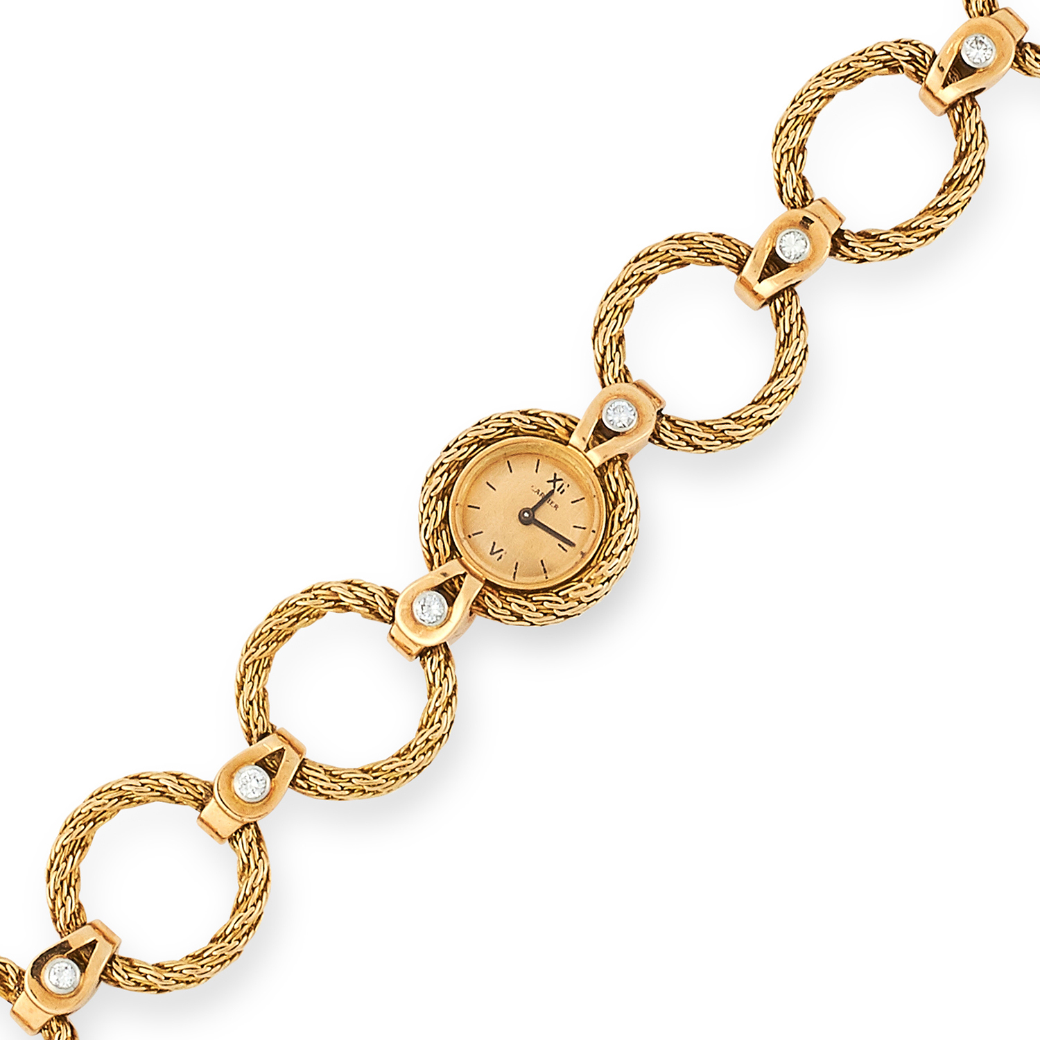 A VINTAGE LADIES DIAMOND WRISTWATCH, CARTIER comprising of textured gold hoop links set with round - Image 2 of 2