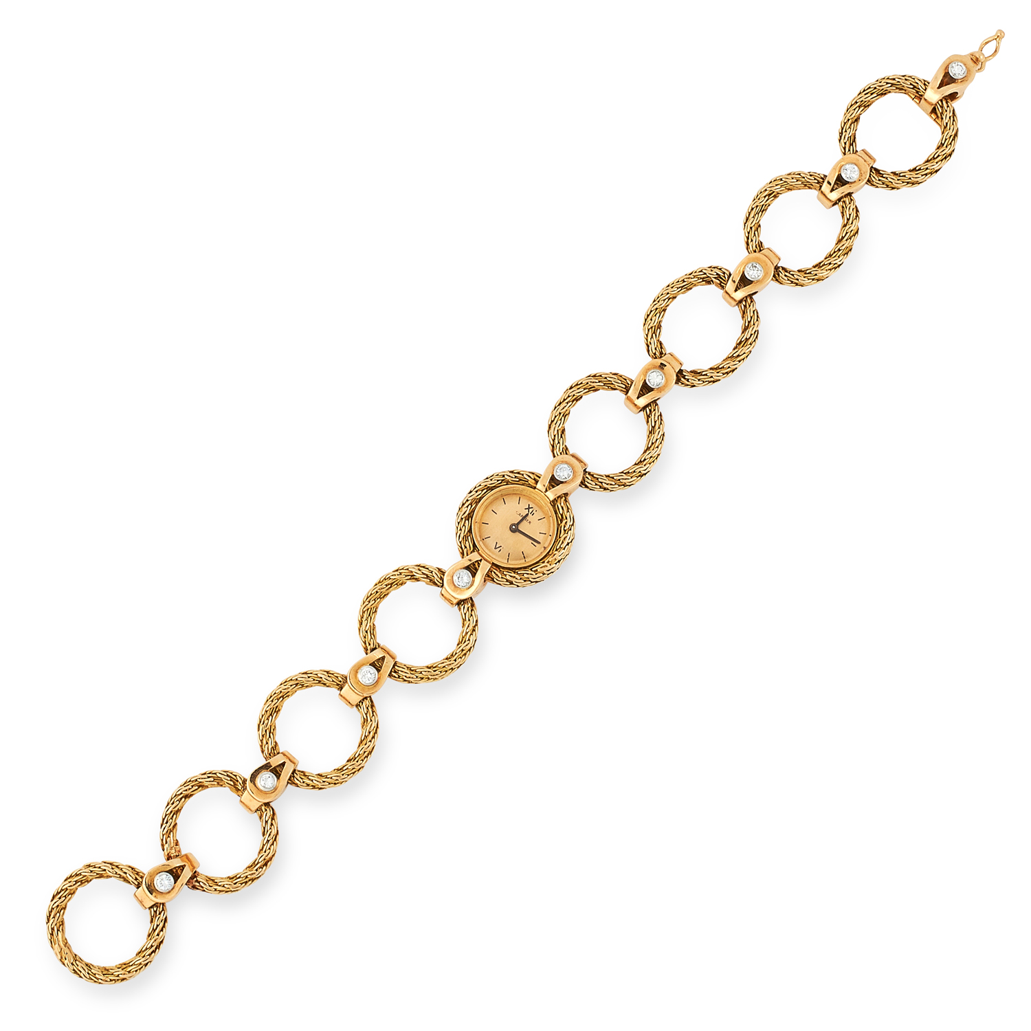 A VINTAGE LADIES DIAMOND WRISTWATCH, CARTIER comprising of textured gold hoop links set with round