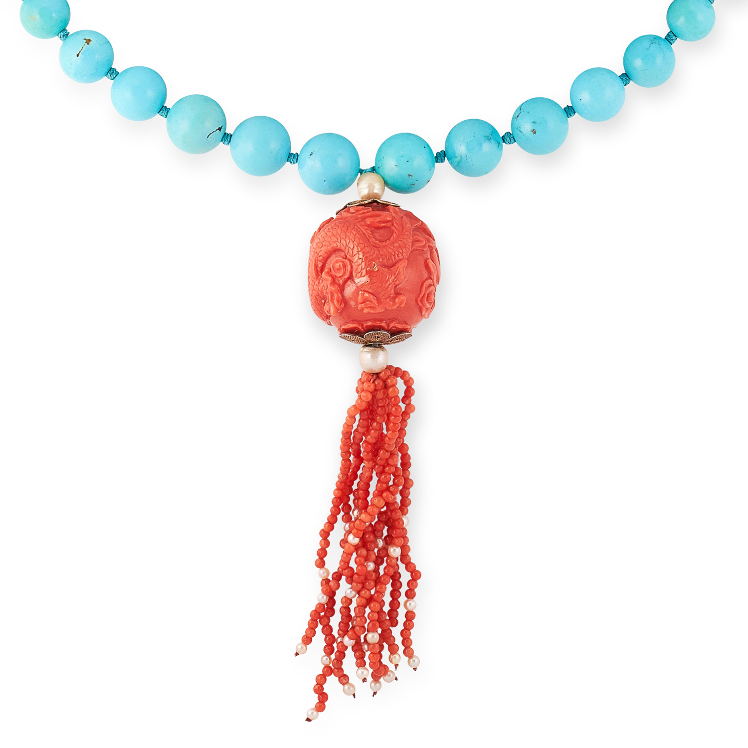 A CHINESE CARVED CORAL AND TURQUOISE NECKLACE comprising a single row of forty-six graduated round - Image 2 of 2
