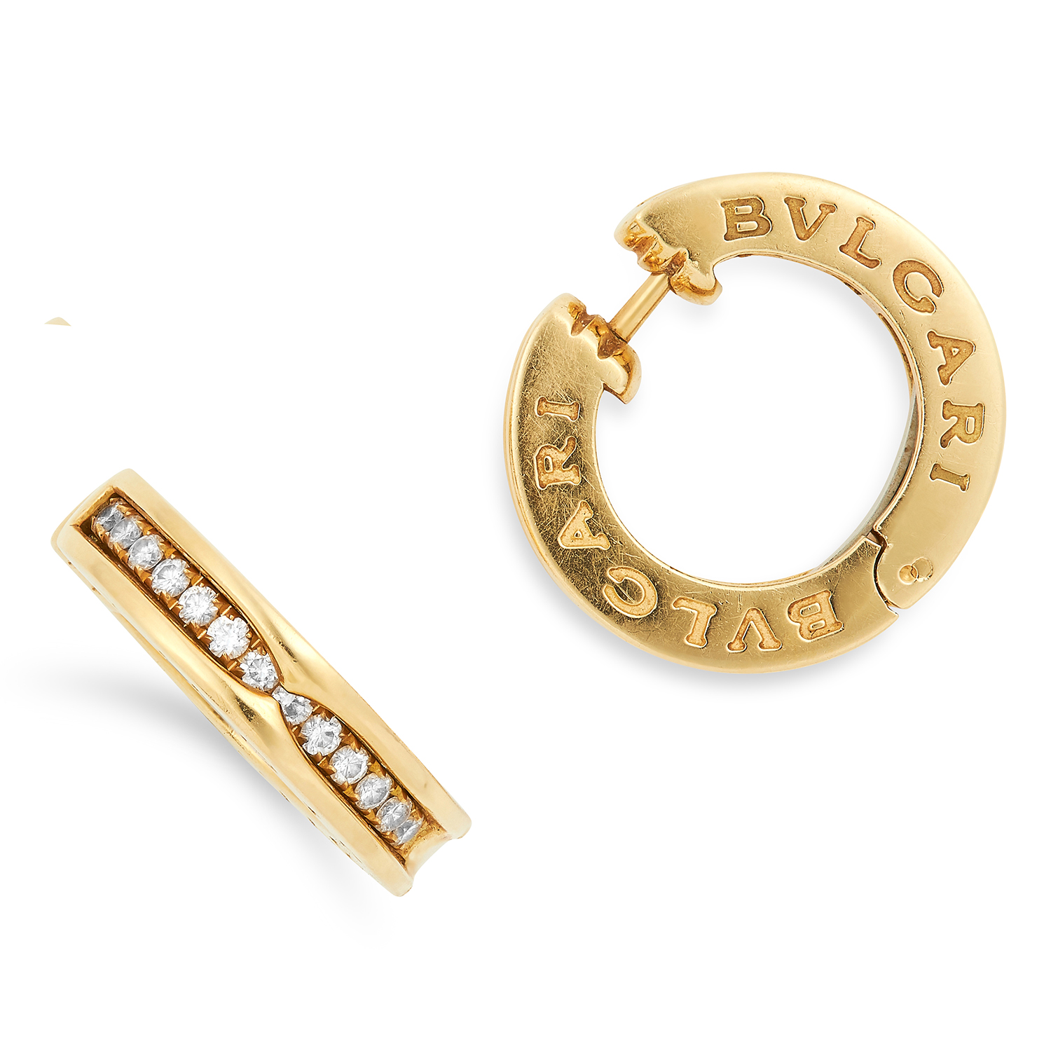 A PAIR OF DIAMOND B.ZERO1 HOOP EARRINGS, BULGARI the hoops set with round cut diamonds, signed