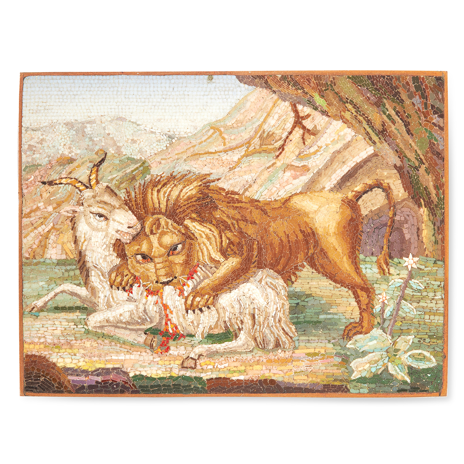 Los 60 - AN ANTIQUE MICROMOASIC PLAQUE, POSSIBLY BY FILIPPO PUGLIESCHI ROME CIRCA 1820 of rectangular form,
