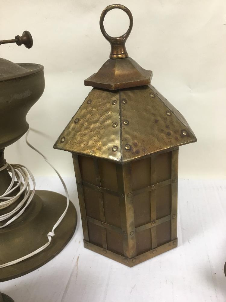 Lot 65 - COLLECTION OF BRASS ITEMS LAMP/LANTERN AND POURING JUG