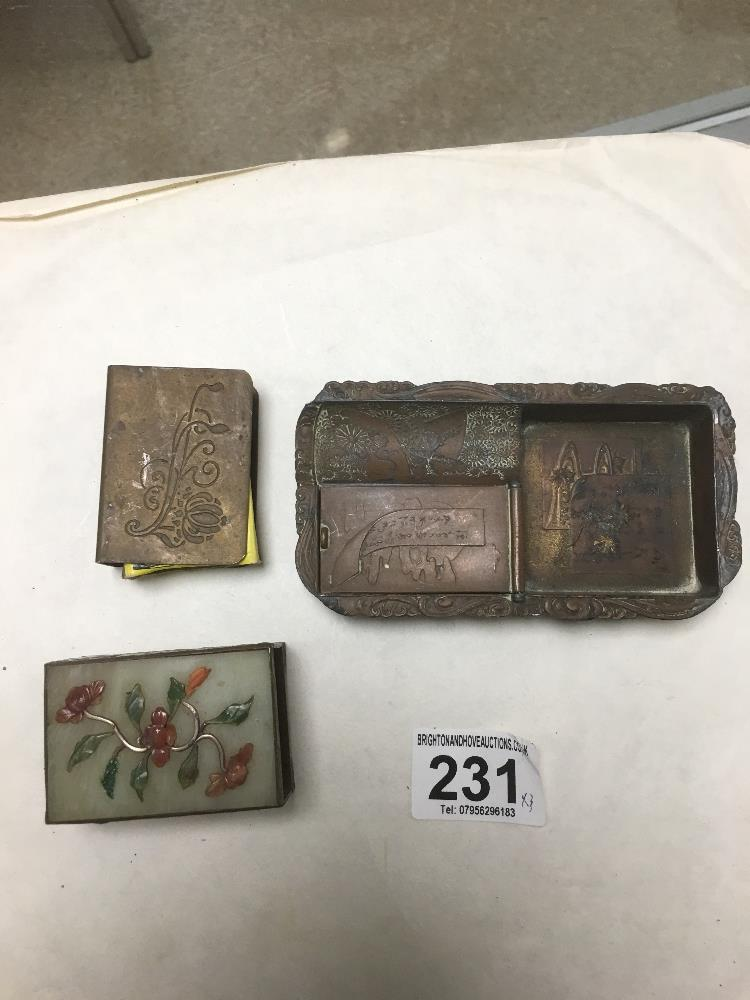 Lot 231 - A CHINESE METAL MATCHBOX HOLDER WITH STONEDECORATION TO THE LID AND ENAMEL DETAILING TO THE EDGES,