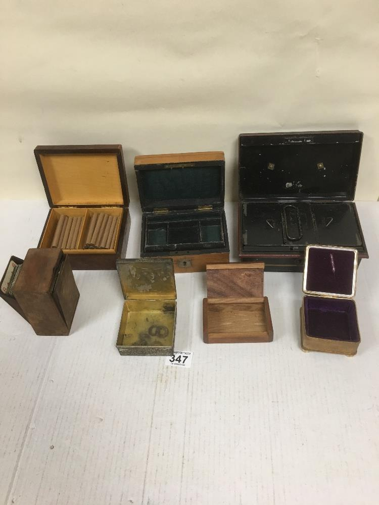 Lot 347 - GROUP OF SMALL WOOD AND METAL BOXES, INCLUDING CARD BOX, CIGAR BOX AND MORE