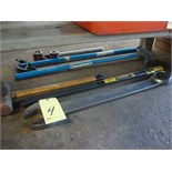 LOT OF HAMMERS, WRENCH & BENDERS  (located under bench)