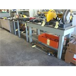 LOT CONSISTING OF STEEL STAND, WOOD WORKTABLE, DESK & FILE CABINET