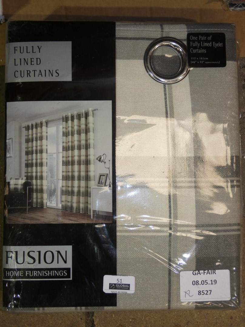 Lot 51 - Sourced From Wayfair: Pairs of Fusion Balmoral Check 46 x 72Inch Slate Grey Eyelet Headed Curtains