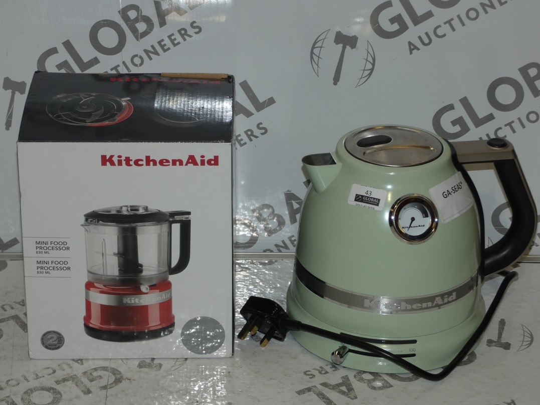 Lot 43 - Assorted Items to Include a KitchenAid Dual Wall Sage Green Rapid Boil Cordless Jug Kettle and a