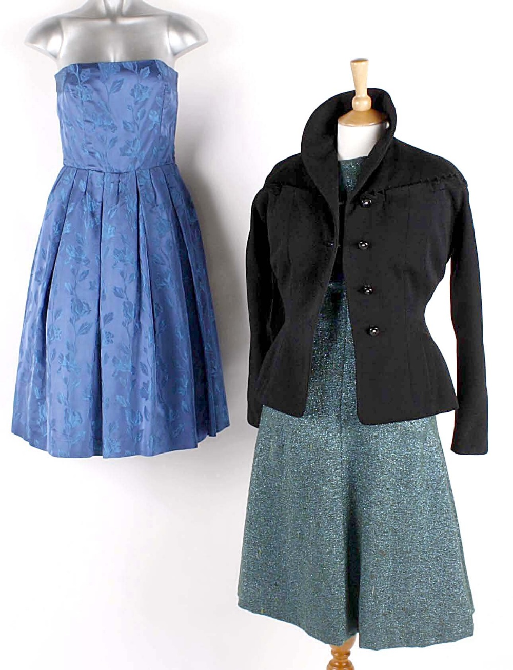 Lot 104 - A 1940s black jacket by Willsons Fashions; a 1950s rust coloured dress with a matching jacket; a