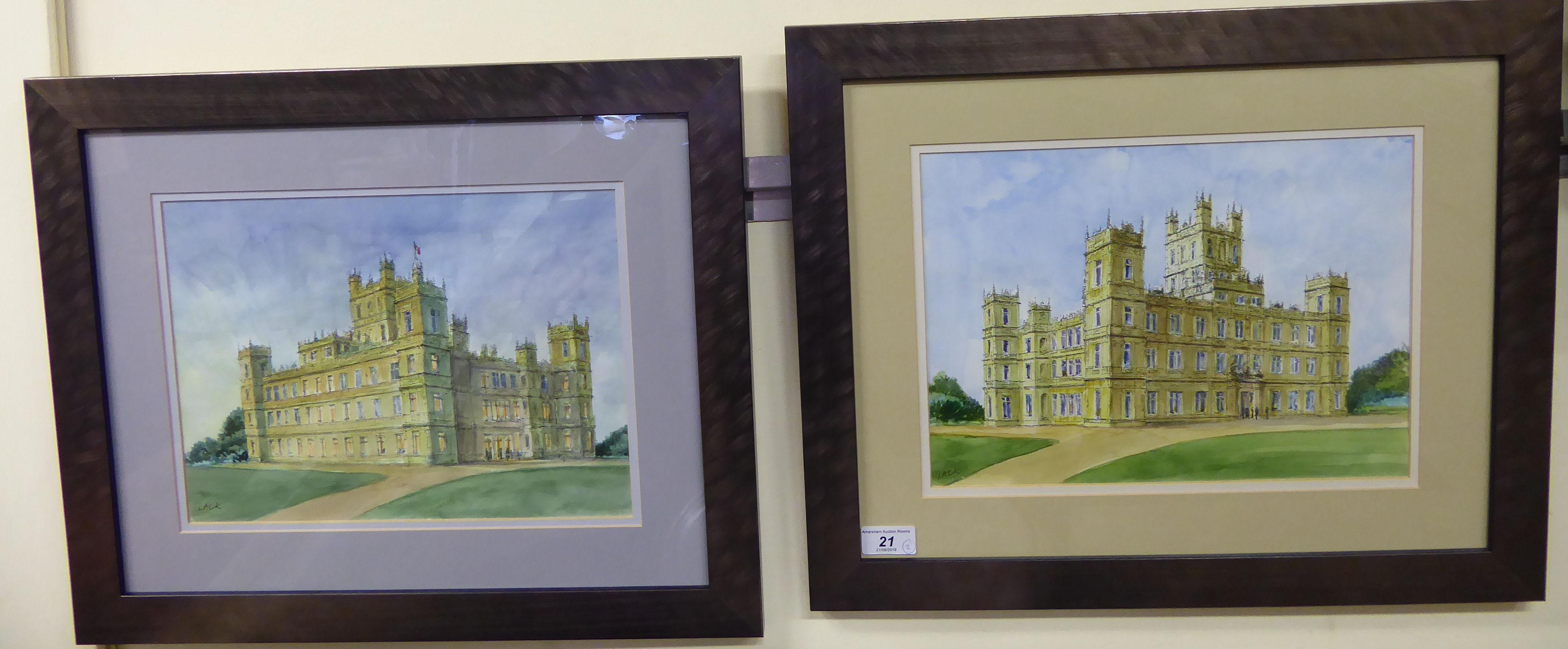 Lot 21 - Lack - 'Highclere Castle' (of Downtown Abbey fame) a pair of studies pen,