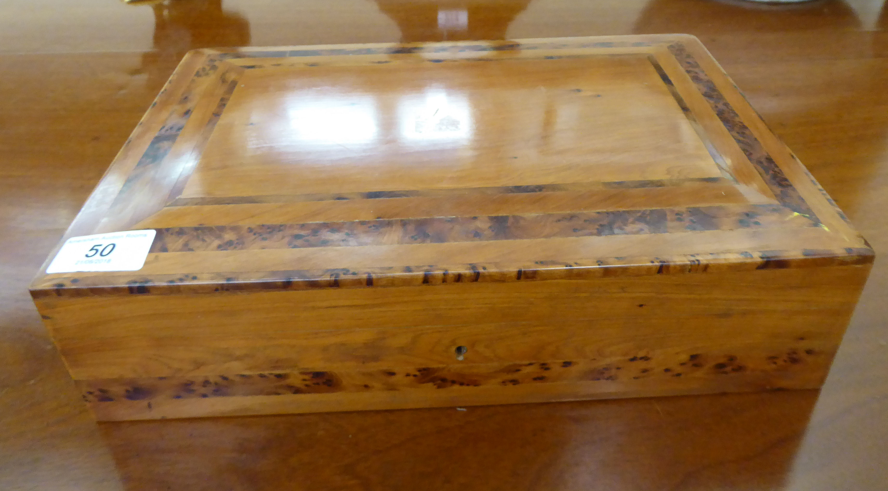 Lot 50 - A modern fruitwood cigar box with straight sides and a hinged lid,