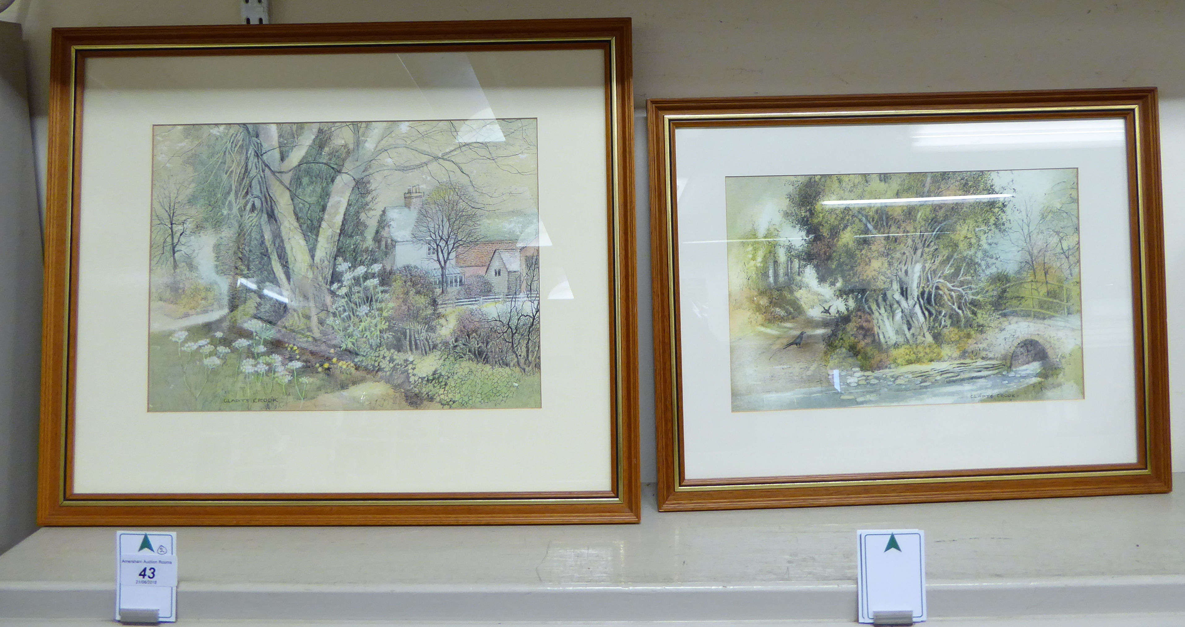 Lot 43 - Gladys Crook - 'The Ford' and 'Wayside View' pen,