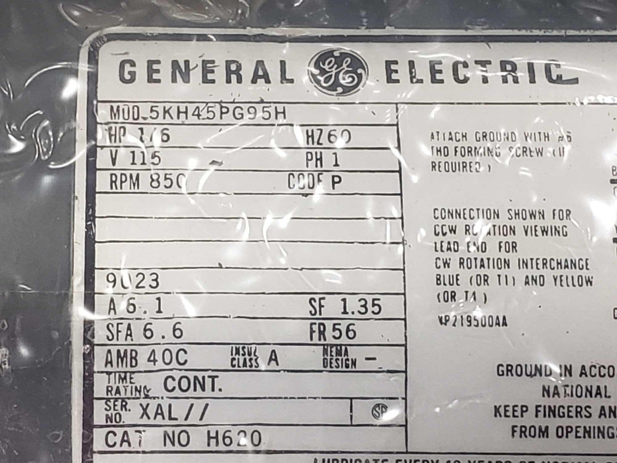 1/6hp GE model 5HK45PG95H motor. 115v single phase, 850rpm. New in box. - Image 2 of 2