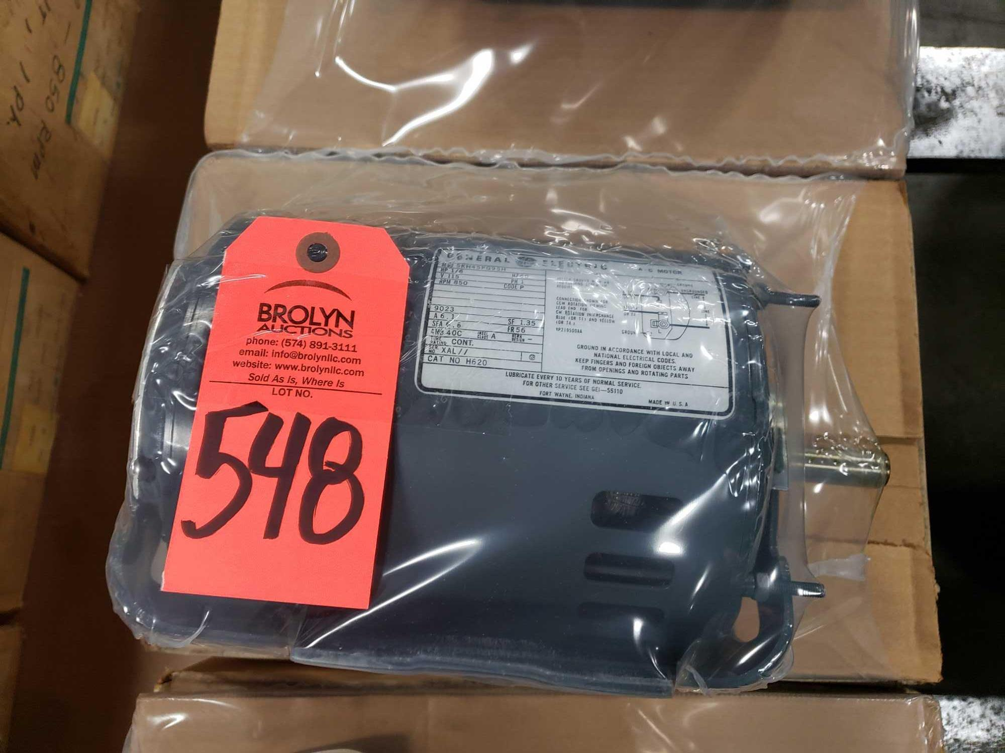 1/6hp GE model 5HK45PG95H motor. 115v single phase, 850rpm. New in box.