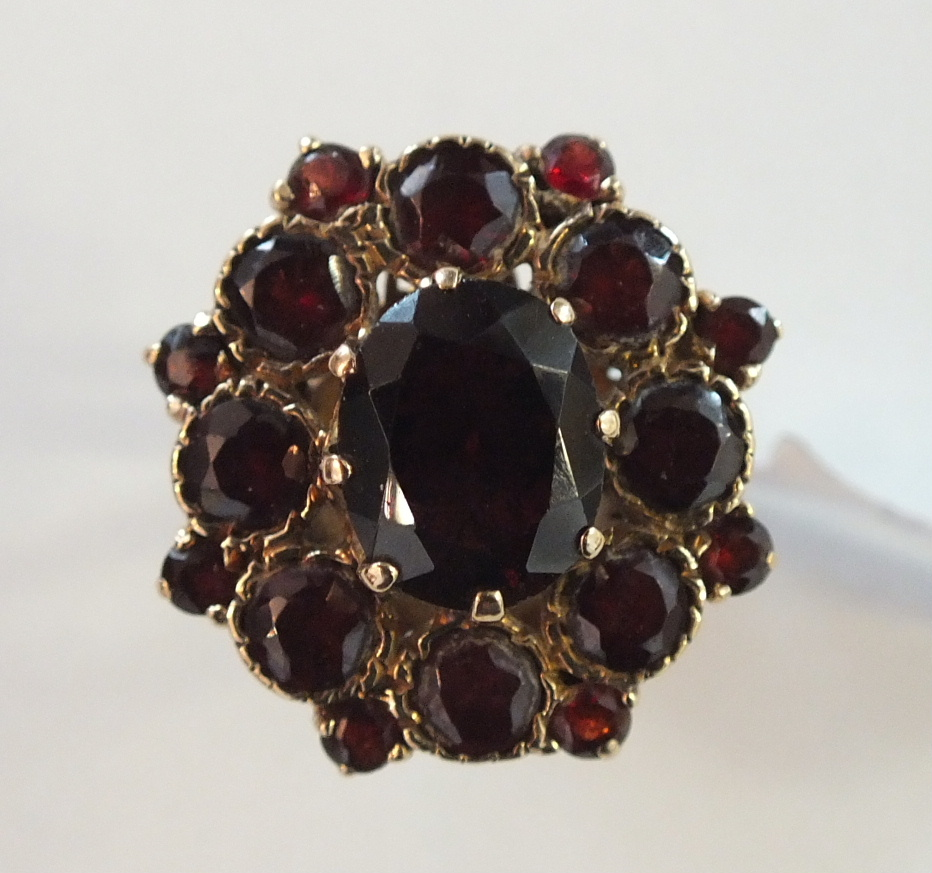 Lot 175 - A garnet cluster ring claw and collet-set seventeen garnets, in 9ct gold mount, size I½, 5g.