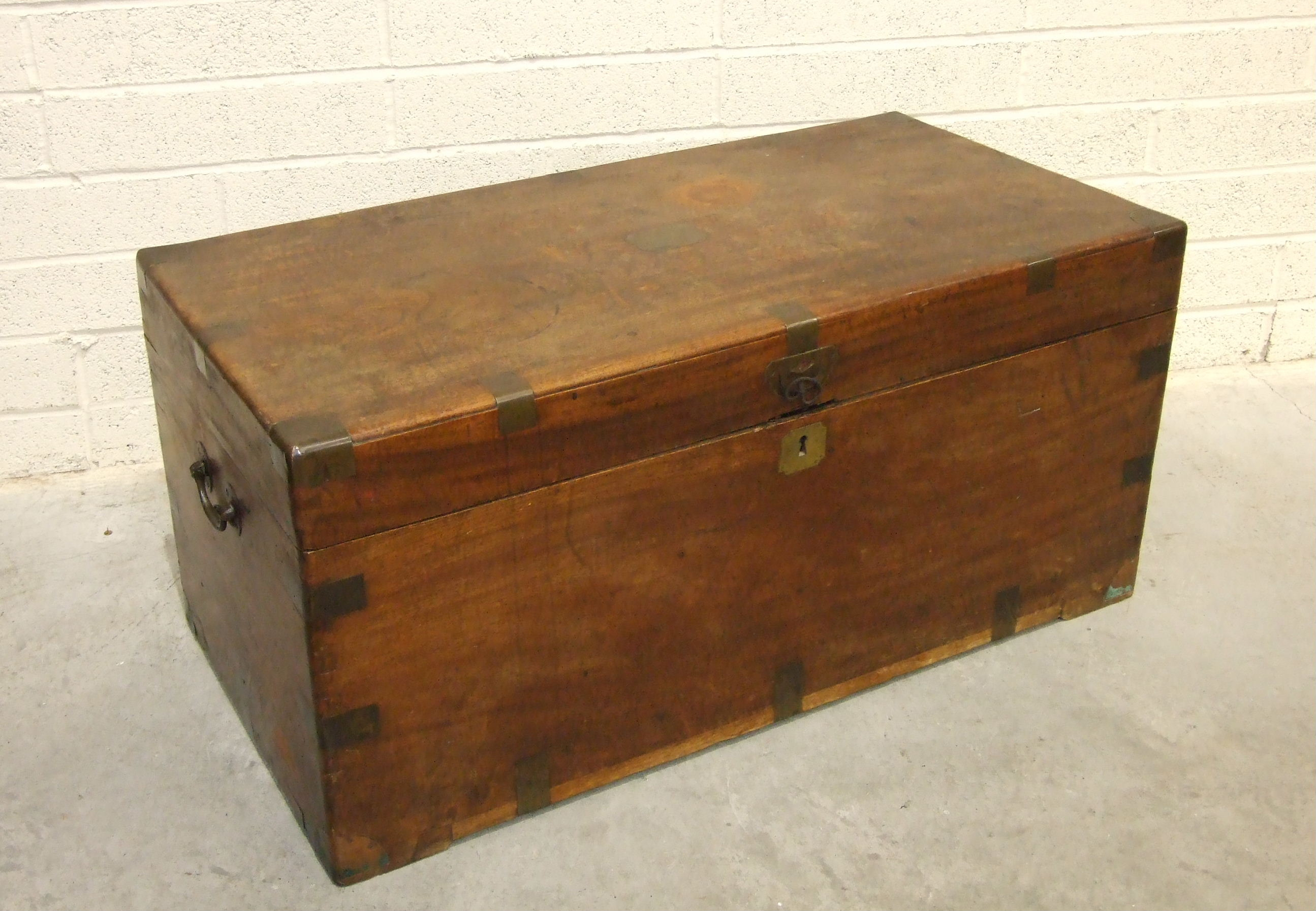 Lot 62 - A Victorian teak brass-bound blanket chest with intermediate and corner bindings, 104cm wide, 49cm