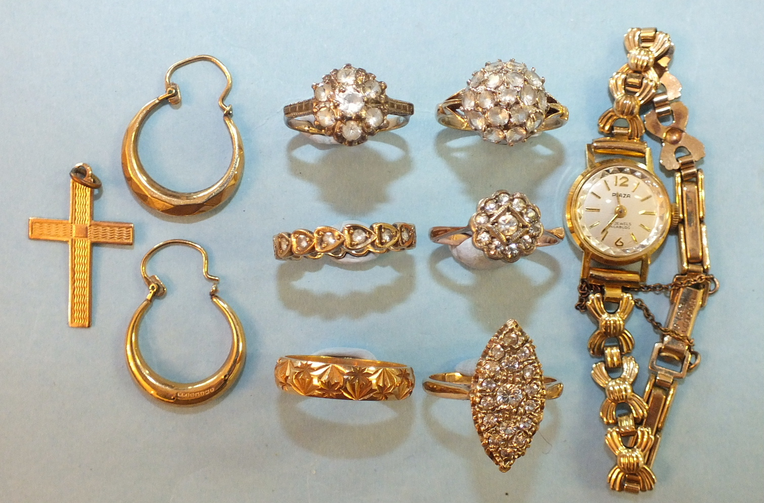 """Lot 202 - Five rings set white paste and synthetic stones, a 9ct gold wedding band, an 18ct gold cased """"Plaza"""""""