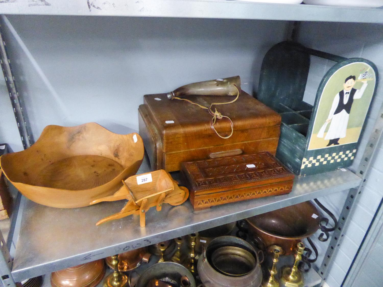 Lot 287 - A WOODEN CUTLERY BOX, A LARGE ELM BOWL, A WOODEN MILK BOTTLE HOLDER AND A TEAK BOX ETC...