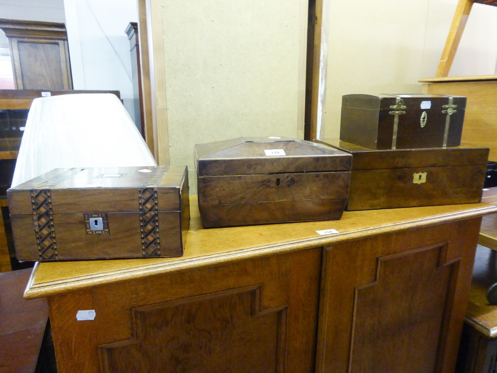 Lot 129 - THREE ANTIQUE VENEERED BOXES
