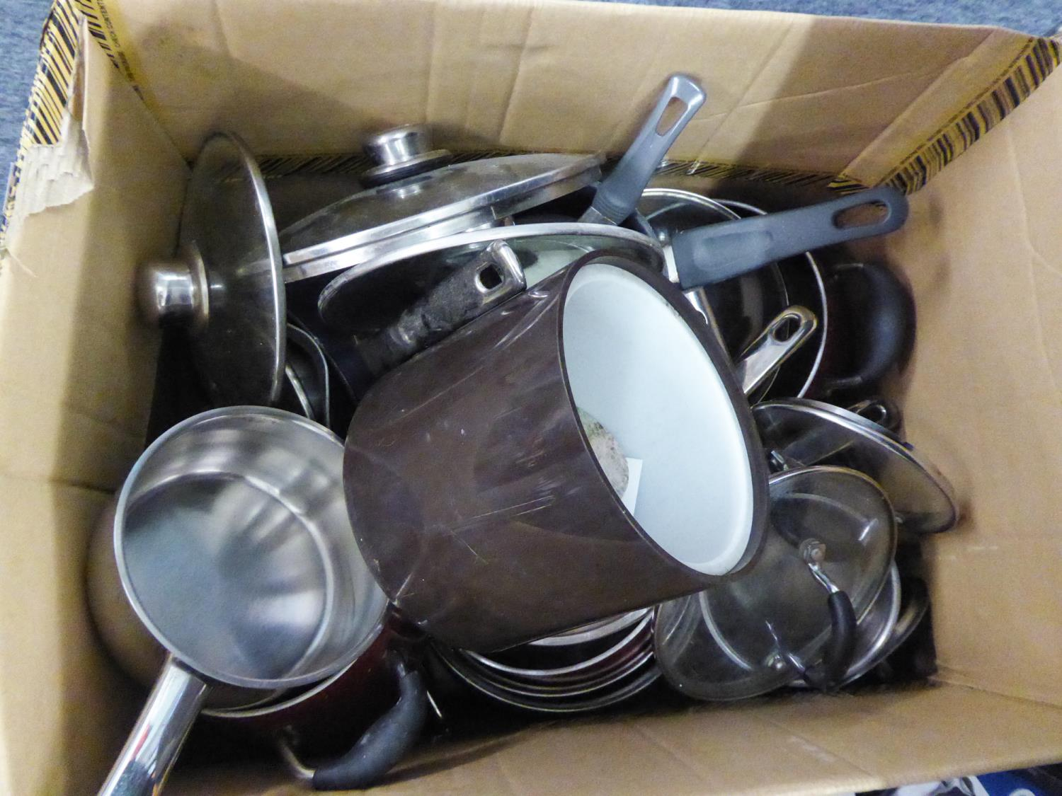 Lot 380 - A SET OF RED ENAMELLED PANS AND OTHER PANS