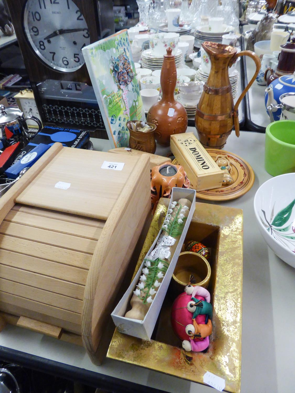 Lot 421 - SELECTION OF WOODEN ITEMS, WATER JUG, SMALL BREAD BIN ETC....