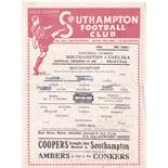 Southampton v Chelsea 1945 December 29th horizontal & vertical folds score graffiti tears centre