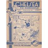 Chelsea v Middlesbrough 1937 January 9th vertical fold no staple small tear to left where staple