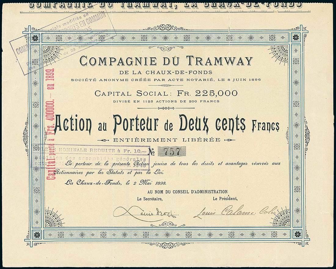 Lot 282 - Compagnie du Tramway de la Chaux-de-Fonds. Action au Porteur Fr.200. La Chaux-de-Fonds 2.5.1898. #7