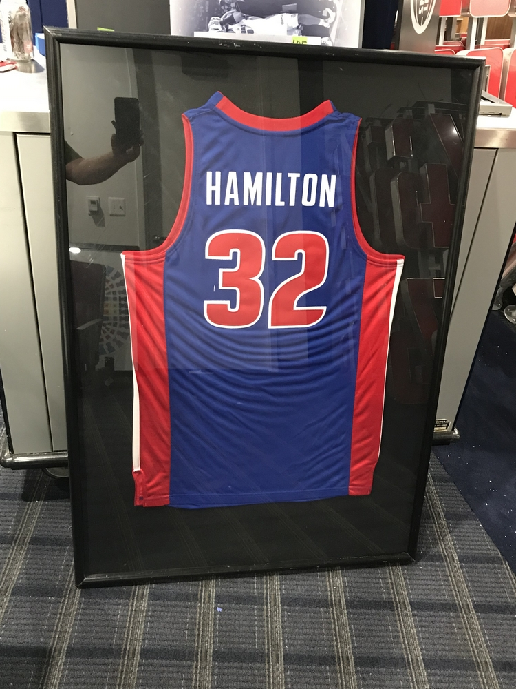 Lot 18B - Framed Rip Hamilton Jersey , Dim. 33 in x 46 in , Location: Suite ***Note from Auctioneer***This lot
