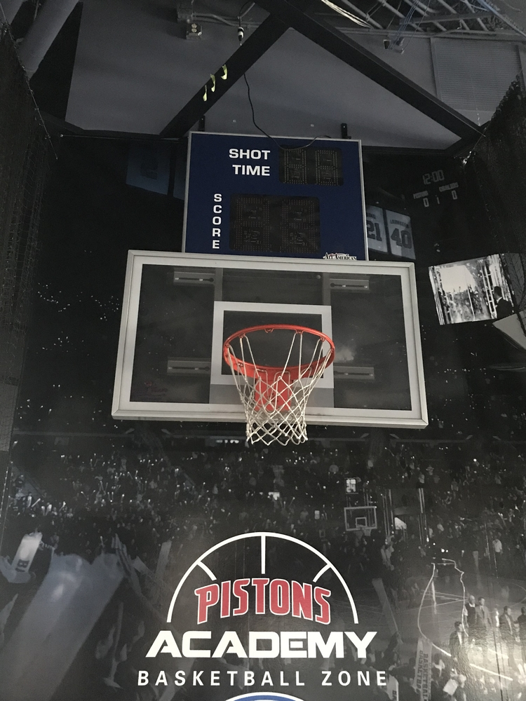 Backboard, Hoop & Shot Clock from Kids Shooting Area in Concourse , Dim. , Location: Concourse ***