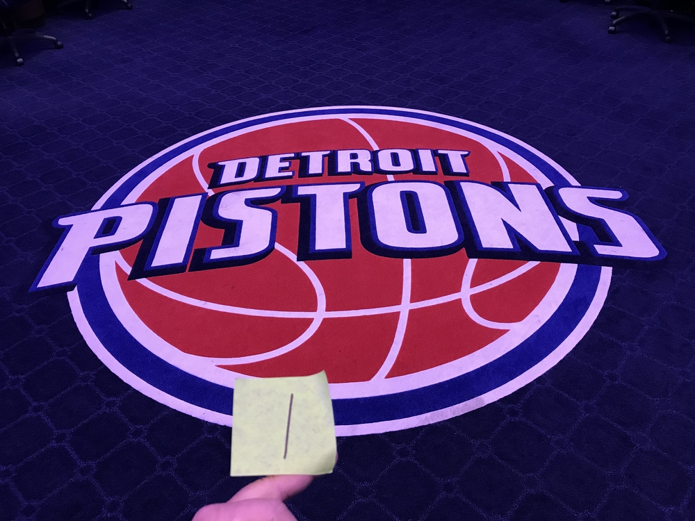 Lot 1 - Pistons Logo from Locker Room Floor / Carpet (This lot was carefully cut out of the carpet in the