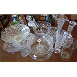 Assorted cut glass salad bowls, a ships decanter and vases, etc.