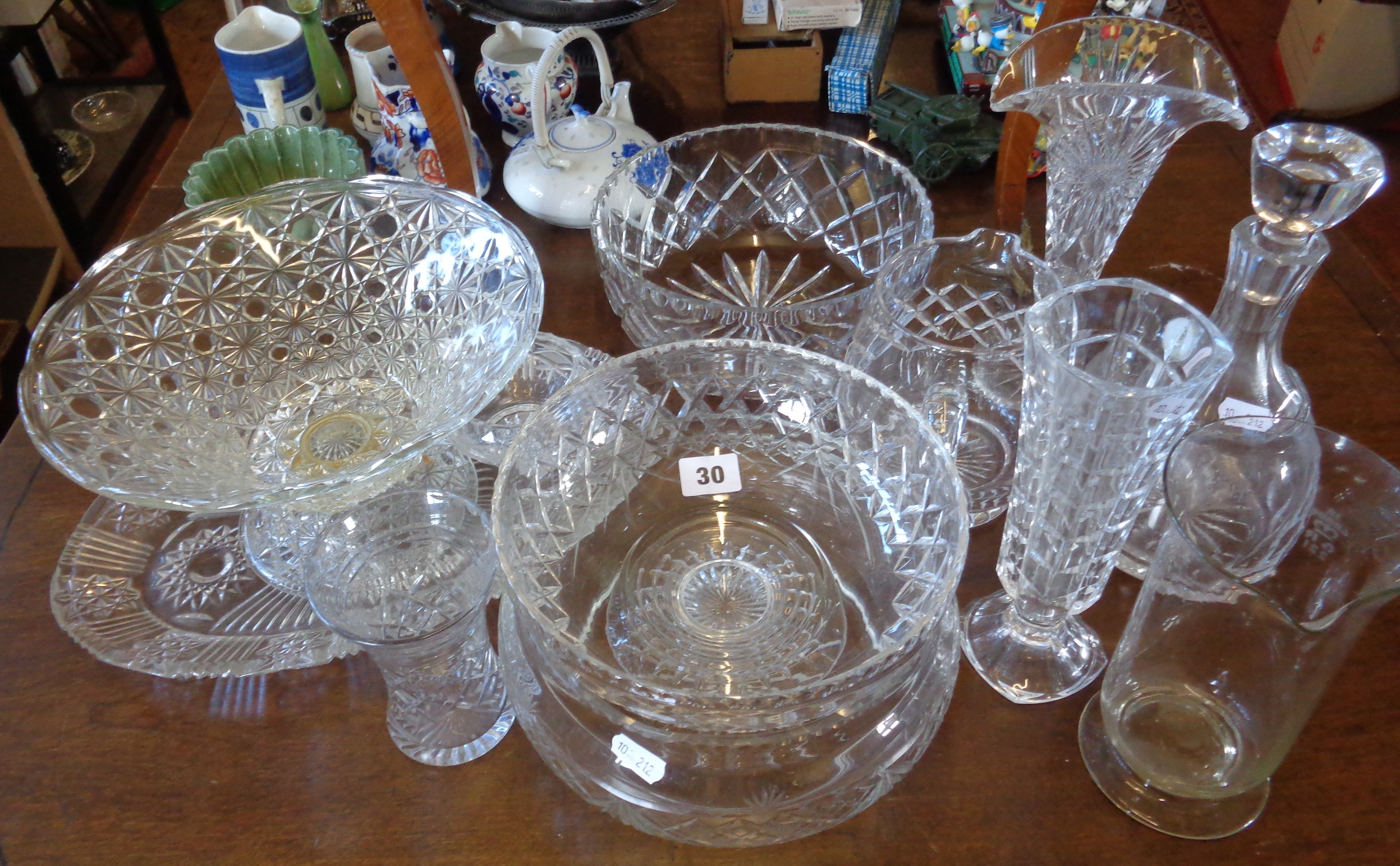 Lot 30 - Assorted cut glass salad bowls, a ships decanter and vases, etc.