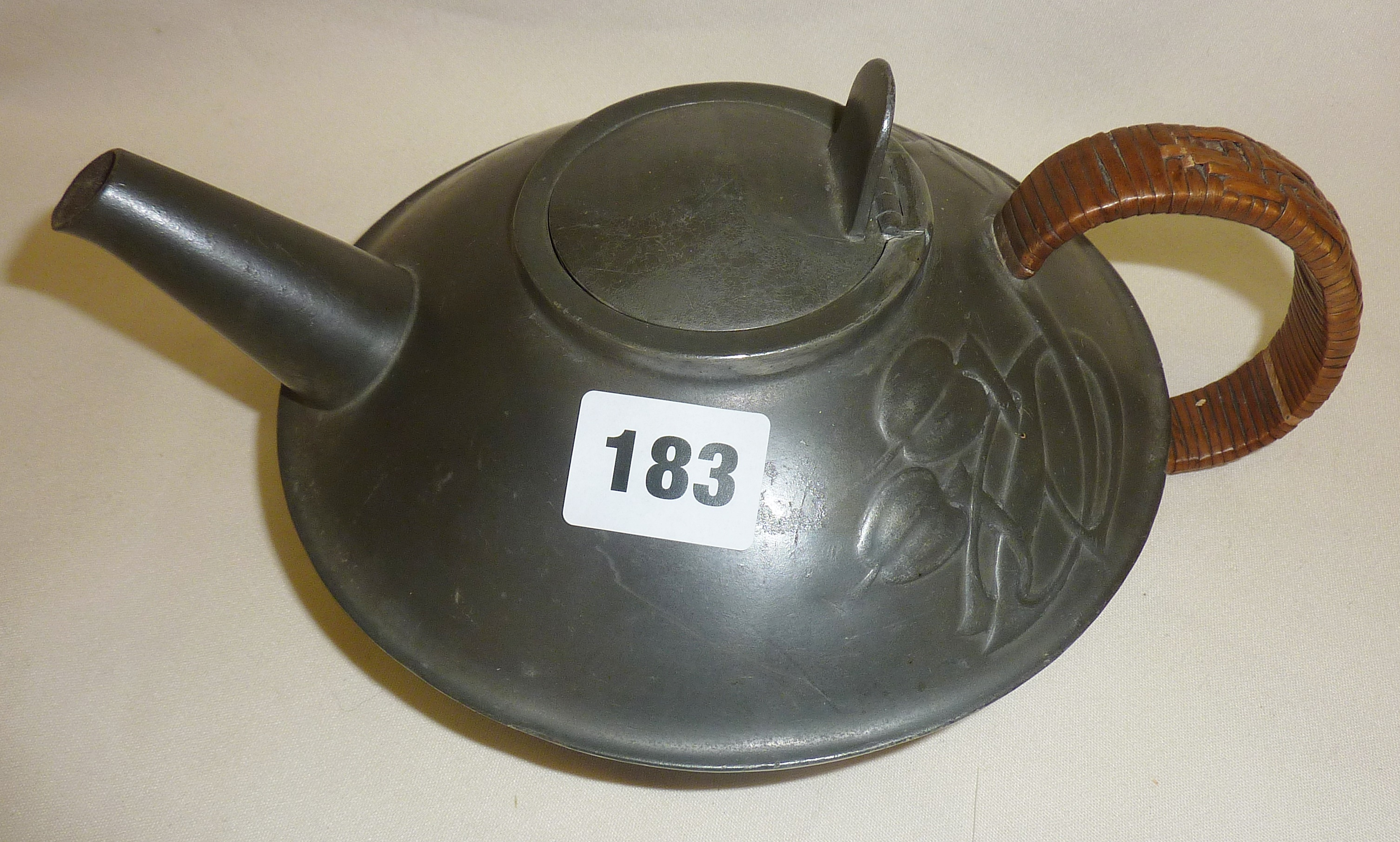 Archibald Knox designed Arts and Crafts Tudric Pewter teapot 0231, retailed by Liberty & Co