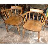 Pair of Edwardian Smokers Bow armchairs