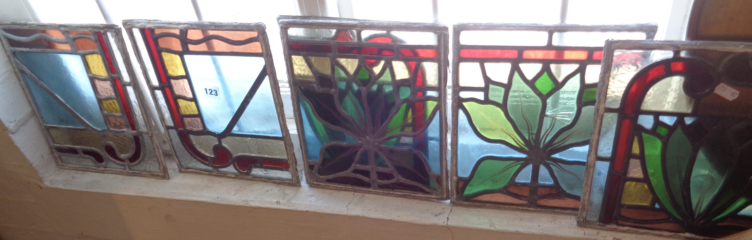 Lot 123 - Six panels of leaded stained glass